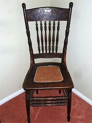 Antique Wooden Carved Kitchen Chair 1926 Vintage
