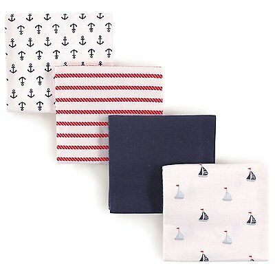 Luvable Friends 4 Piece Flannel Receiving Blankets, Sailboat