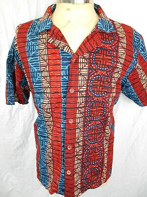 Vintage 60s 70s Short Sleeve Red Brown Blue Cotton Tiki Resort Beach Shirt M