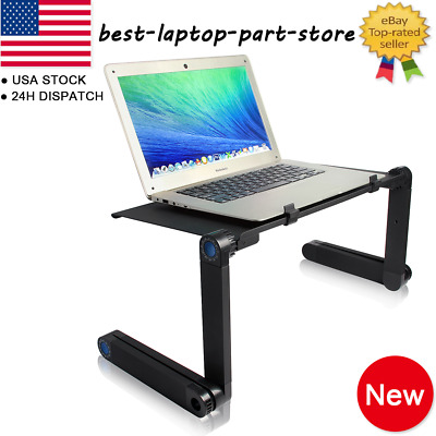 360°Adjustable Folding Laptop Notebook Desk+Cooling Fan Table Stand Bed Tray