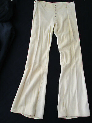 VTG 70s Mens Suede Leather Pearl Snap Bell Bottoms Hippy Rockstar 34x34