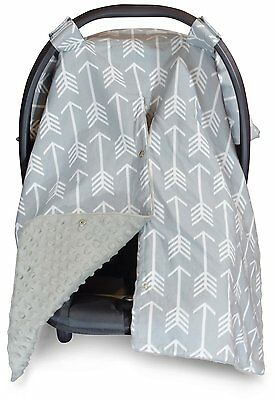 Premium Carseat Canopy Cover and Nursing Cover- Large Arrow Pattern w/ Grey | or