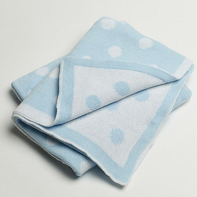 Baby Boy 100% Cotton Blue Pram Blanket - Blue and White Spot