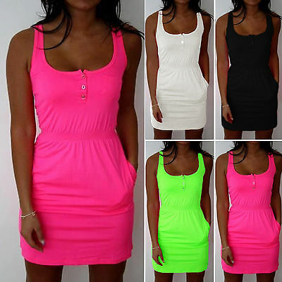 Plus Size Womens Summer Party Short Mini Dress Casual Bodycon Sleeveless Dresses