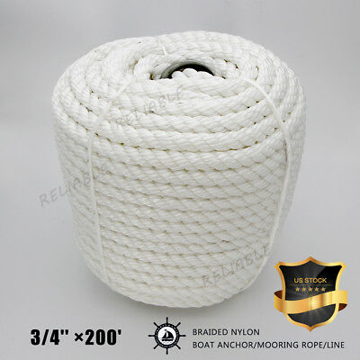 US STOCK White Twisted 3 Strand Nylon Boat Anchor/Mooring Rope/Line with Thimble