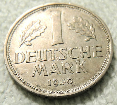 Germany - One Deutsche Mark Coin - 1950 - Reasonable Cond - Deceased Estate