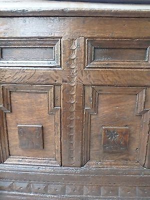 Magnificent Example Of Rare 18th C Oak Coffer Chest Trunk
