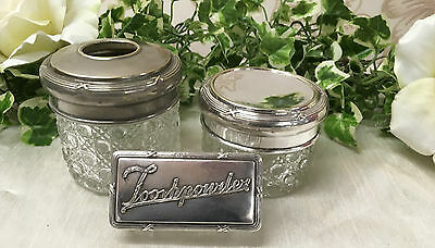 Antique Vintage Cut Glass Dressing Table Trinket Box Set With Silver Plate Lid