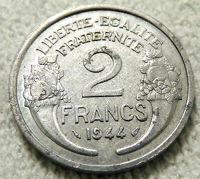 France - Two Francs Coin - 1944 - Reasonable Cond For Age - Deceased Estate