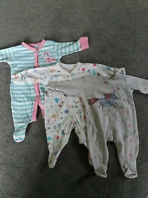 next girl sleepsuits up to 1 month