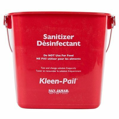 "San Jamar KP256RD ""Sanitizing Solution"" Kleen-Pail, 8 Quart, Plastic, Red 1/EA"