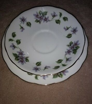 Matching pattern set of saucer and side plate Queen Anne bone china