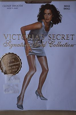 VICTORIA'S SECRET glossy smooth Tights Pantyhose Collant BEIGE SMALL