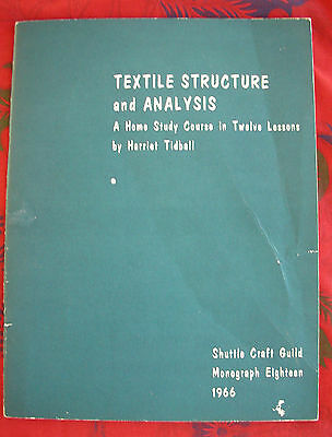 TEXTILE STRUCTURE AND ANALYSIS, Tidball, Shuttle Craft Guild Monograph 18, 1966