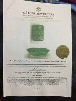 Western Australian Green Emerald With Gem Certification 8.807 Carat $12,000