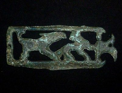 VIKING Ancient Bronze  APPLIQUE - Hunting Scene Circa 700-800 AD        -4727