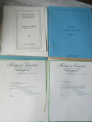 2 Old File Folders 1940's-40's Farmers Dairy Halifax NS Letters Statements etc