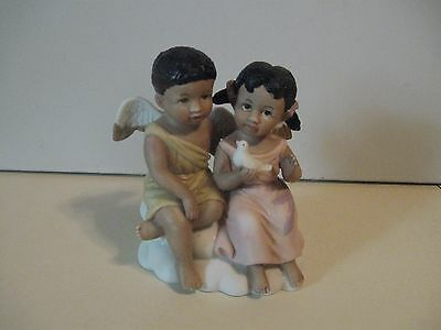 """HOME INTERIORS  Figurine """"DOUBLE BLESSINGS"""" #14651 African American"""