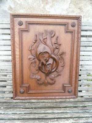 Antique French Large Oak Carved Wood Architectural Panel Door-Hunting scene Fish