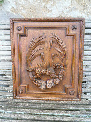 Antique French Large Oak Carved Wood Architectural Panel Door- dog scene 19th