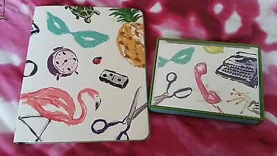 New Kate Spade New York Favorite Things 10 Blank Note Card Set & Spiral Notebook