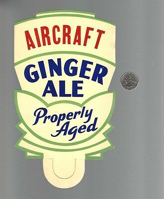 Vintage 1940's AIRCRAFT Brand Ginger Ale Bottle Neck Tag, Point Of Sale, Unused