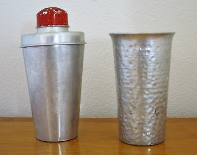 Vintage 3 piece Aluminum Cocktail Shaker/Strainer and hammered cup