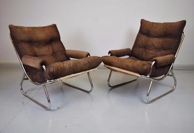 (1 of 2) Mid Century Retro Danish Brown Corduroy & Chrome Lounge Arm Chairs 70s