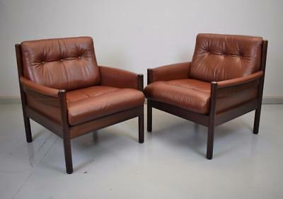 (1 of 2) Mid Century Retro Vintage Danish Brown Leather Lounge Arm Chair 1970s