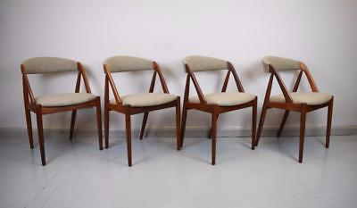 Set of 4 Mid Century Danish Kai Kristiansen Model 31 Teak & Wool Dining Chairs