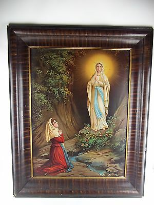 Antique Virgin Mary Lady of Lourdes Retablo Iconography Lithograph on Tin