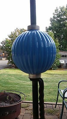 Large Light Blue Ribbed Milk Glass Lightning Rod Ball
