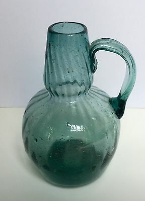 Vintage Mexico Glass Pitcher, Blown Turquoise  Swirl, Vase