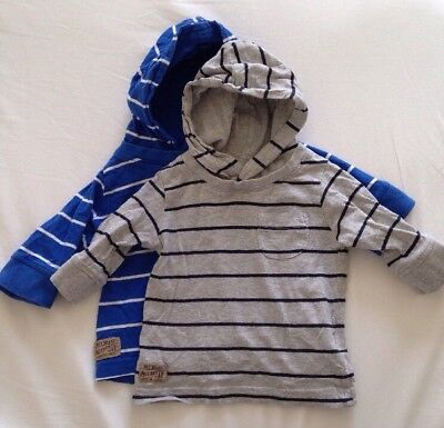 2 X Next Boy's Long Sleeve T-shirts With Hoods, 3-6 Months