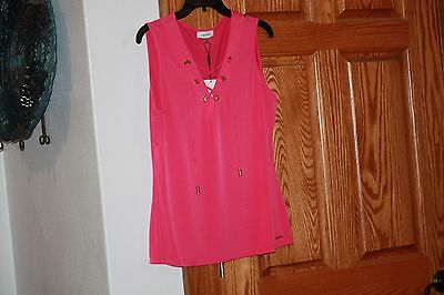 New Calvin Klein Tie Up Grommet Top Shirt Blouse Size Fushia Pink Large NWT