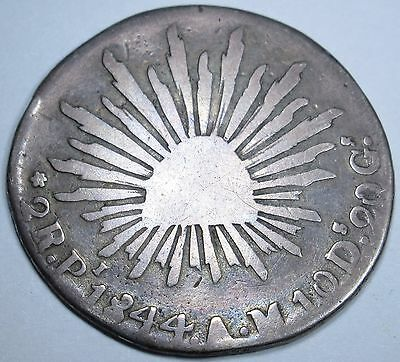 Mexico 1844 2 Reales Antique Mexican Currency Coin Money Old Silver Two Real