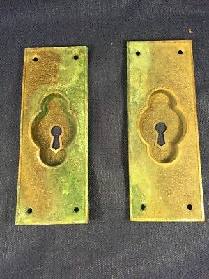 Antique Victorian Brass Pocket Door Pull with key hole Matching Set Of 2