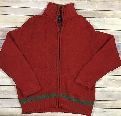 Gap Full Zip Cardigan Sweater Youth Boys Large 10 Red Lambs Wool Cotton GUC 08