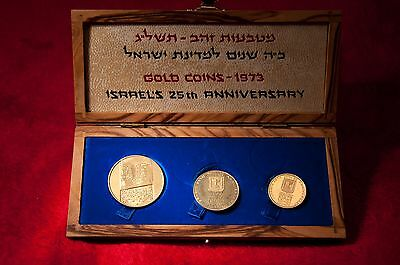 Israel 1973 Set of 3 Israel's 25th Anniversary Independence Gold Coins
