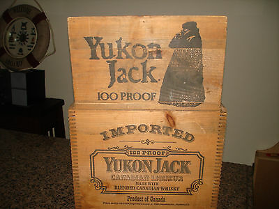 "Vintage Yukon Jack Canadian Whiskey Liquor Wood Crate Box W/Lid 14"" x 12"" x 11"""