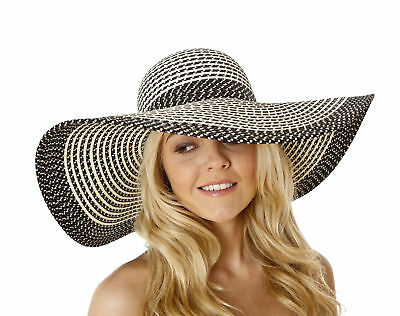 i-Smalls Women's Summer Wide Brim Floppy Sun Hat (Black)