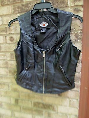 Ladies Size Large Harley Davidson Black Leather Motorcycle Vest Womens L Biker