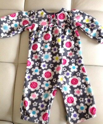 CARTERS Baby Girls Gray Floral Fleece Pants Sleep One Piece Outfit- 6-9 Months