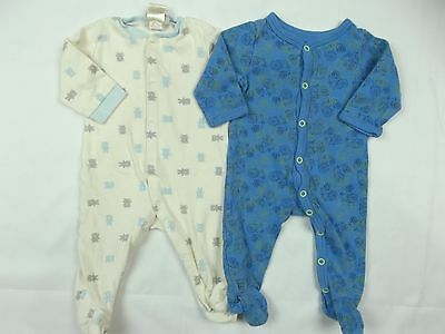 Baby Boy Lot Of 2 Sleepers Size 3-6M Blue Multi-Color Snap Front