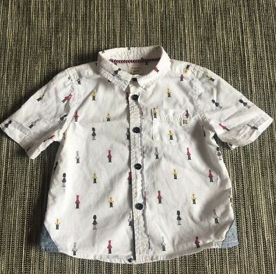River Island boys shirt 9-12 months white toy soldiers