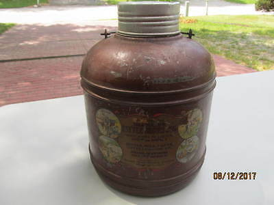 1920's Brainard's Little Brown Jug Tin Over Stoneware Macomb Mfg Camping Crock
