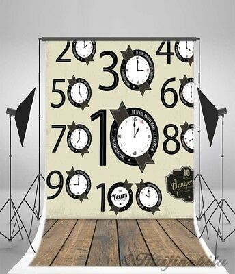 5x7ft Clock Number Wall Photography Background Vinyl Photo Backdrop Studio Props