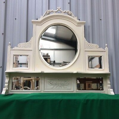 Ex-Large Antique Shabby Chic Overmantle Wall Mirror / Distressed Ivory Eggshell