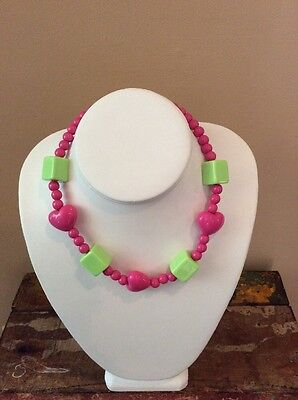 Gymboree Hearts And Blocks Pink And Green Necklace