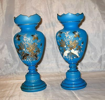 "Vintage Pair Blue Bristol Glass 10"" Mantle Vases Enameled Flowers Hand Painted"